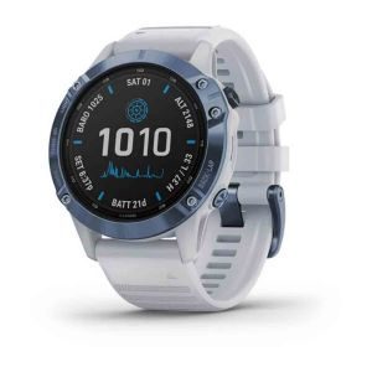 Fenix 6 Pro Solar Edition GPS-Smartwatch Sportuhr Steinweiß Blau DLC-Titan mit QuickFit-Armband Silikon 22mm