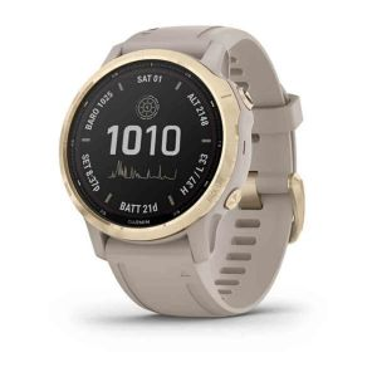 Fenix 6S Pro Solar GPS-Smartwatch Sportuhr Weißgold mit QuickFit-Armband Silikon 20mm
