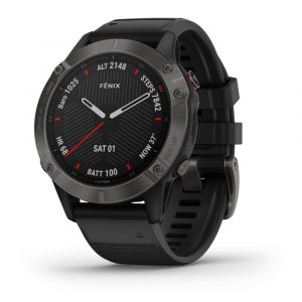 Fenix 6 Saphir GPS-Smartwatch Sportuhr Schwarz Schiefergrau DLC mit QuickFit-Armband Silikon 22mm