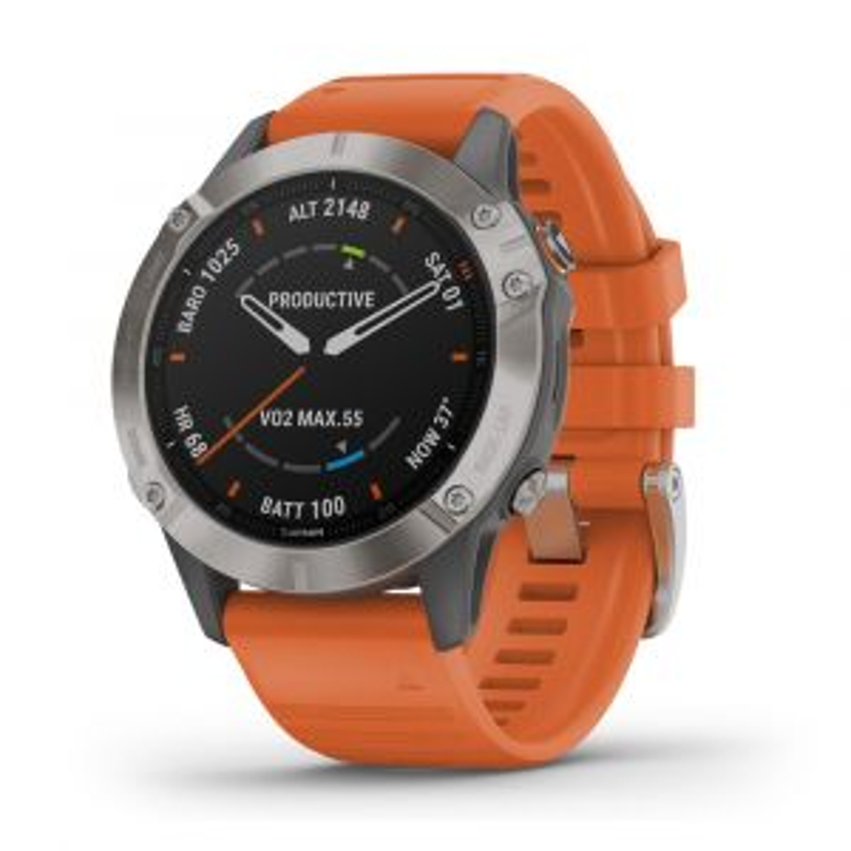 Fenix 6 Saphir GPS-Smartwatch Sportuhr Saphirglas Silber Orange mit QuickFit-Armband Silikon 22mm