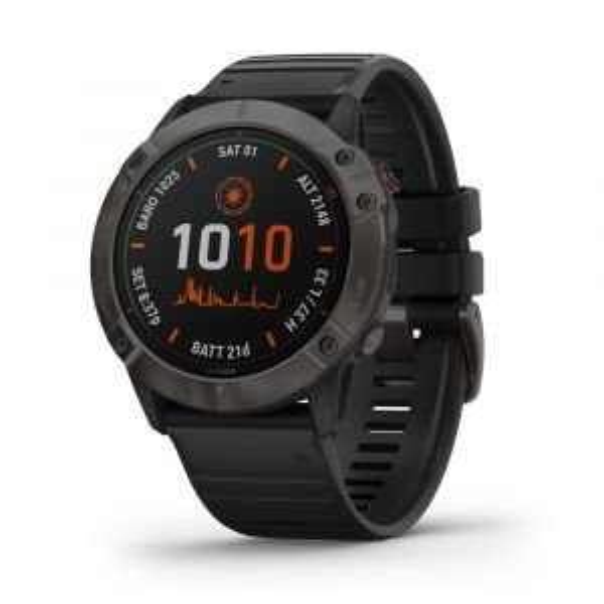 Fenix 6X Pro Solar GPS-Smartwatch Sportuhr Schwarz DLC-Titan-Luenette mit QuickFit-Armband Silikon 26mm